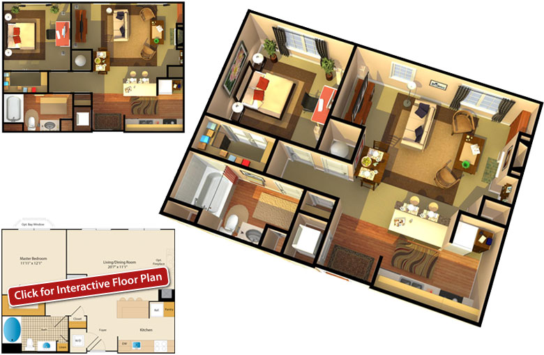 Floor Plan Showcase 2 Bedroom Bath