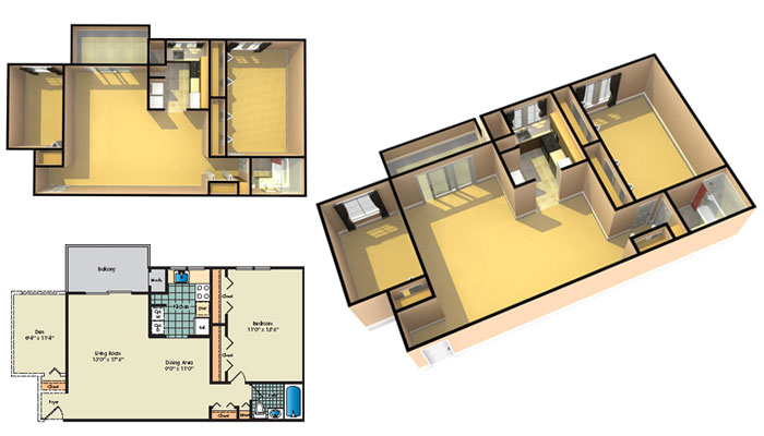 Floor plan showcase 2 bedroom 1 bath den 1002 sq ft for 675 sq ft floor plan
